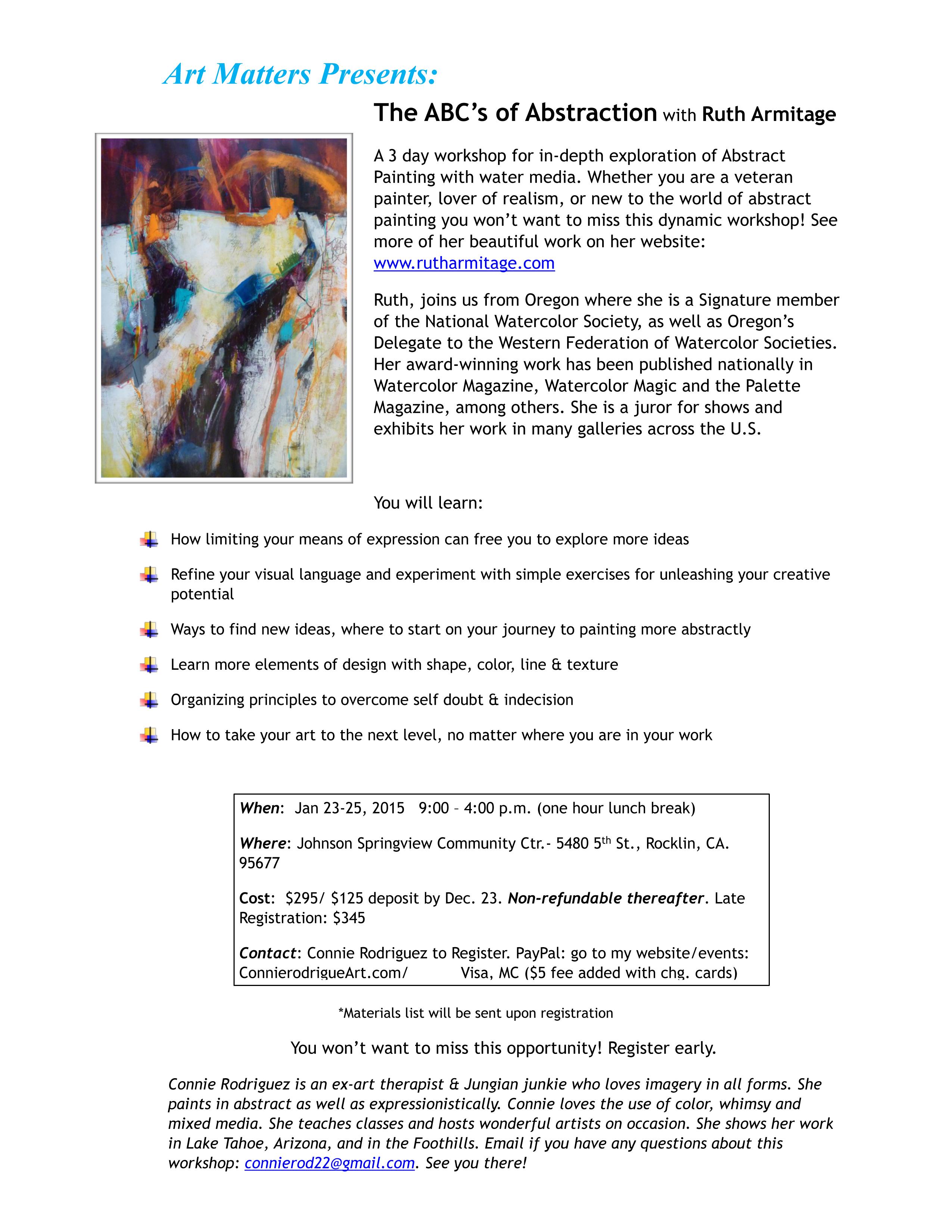 New Sacramento Workshop Announcement