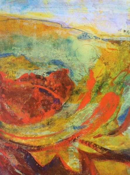 """""""Abstract Hillside"""" ©Ruth Armitage 2015, Acrylic on Paper 15""""x11"""""""