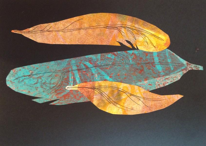 Gelli-Print Feathers
