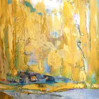 """Golden Shore ©Ruth Armitage, 2016 15x11"""" Acrylic on Paper"""