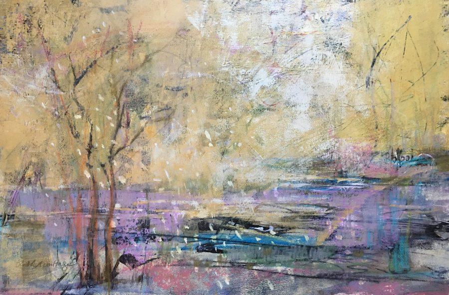 "Breath of Spring, Acrylic on Paper 15""x22"" ©Ruth Armitage"