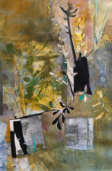 """""""Slow Growth"""" Acrylic and Collage on Paper, 22x15"""" ©Ruth Armitage"""