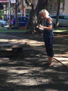 Janice painting the Banyan