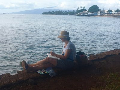 Laura painting on the Library Lawn in Lahaina