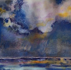 """""""Tropical Storm"""" ©Ruth Armitage, 8""""x8"""" Watercolor on Paper"""