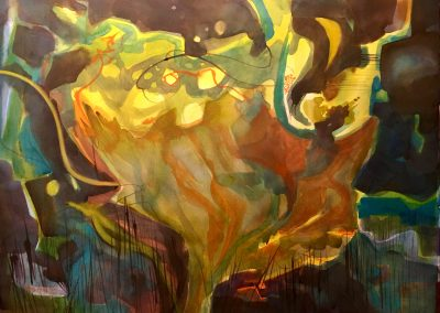 """Abstracted Floral """"Wild Daffodil"""" Watercolor on Paper ©Ruth Armitage 22""""x30"""" $1950"""