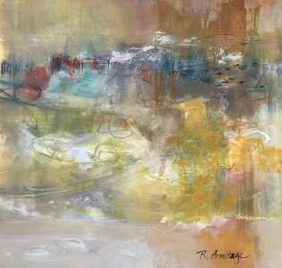 """Autumn Migration"" Mixed Media on Paper 11""x11"" ©Ruth Armitage"