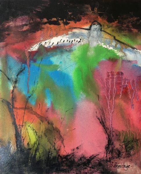 """Night Flight"" Mixed Media on Paper, 8""x10"" ©Ruth Armitage"