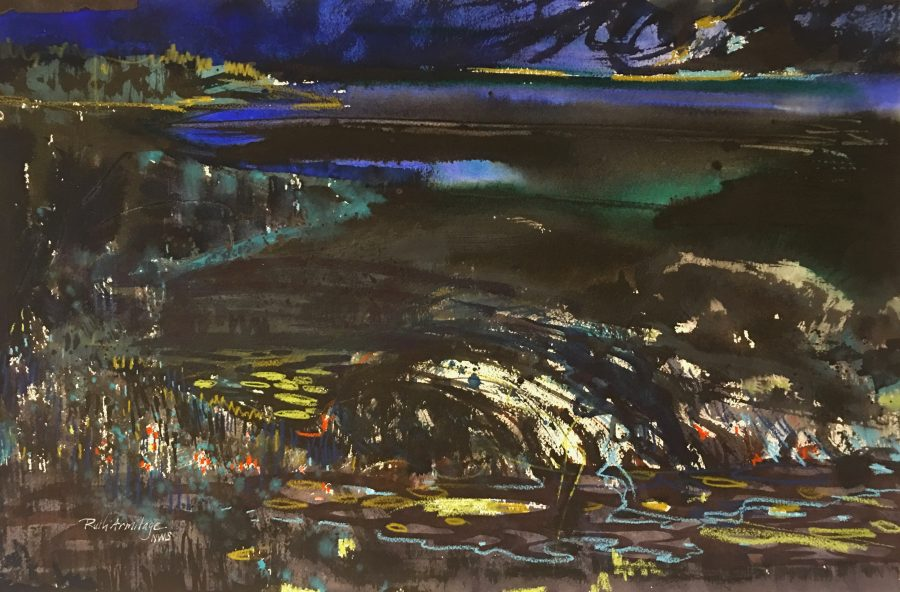 """""""Night by the Sea"""" ©Ruth Armitage, Watercolor on paper 15x22"""""""