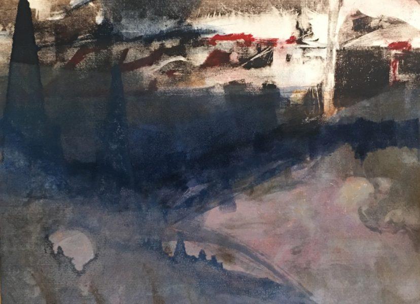 """Pete's Pond"" monotype ©Ruth Armitage 11""x15"""