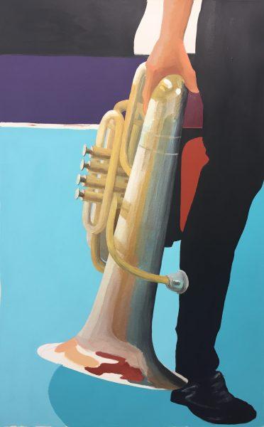 """""""The Tubist"""" ©Ruth Ellen Hoag, Acrylic 25""""x40"""""""