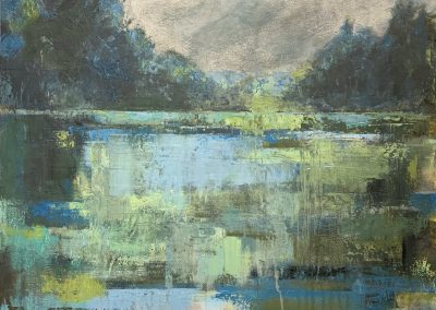 """Silvery Slough"" Oil & Cold Wax on Panel 24""x24"" ©Ruth Armitage"