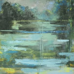 """Wetlands"" Oil and Cold Wax on Panel, 24""x24"" ©Ruth Armitage"